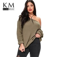 Kissmilk 2017 Big Size New Fashion Women Clothing Casual Solid Sexy Sweater Cold Shoulder Loose Plus Size Sweater 3XL 4XL 5XL