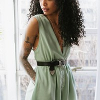 UO Plaid Chiffon Plunging Button-Down Romper | Urban Outfitters