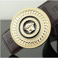 Versace Fashion Popular Women Men Personality Smooth Buckle Belt Leather Belt