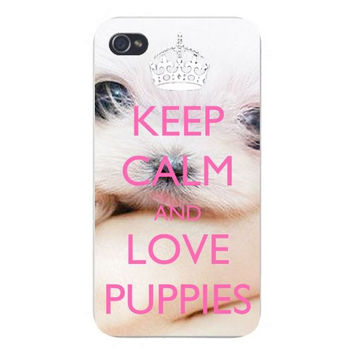 Apple Iphone Custom Case 4 4s Plastic Snap on - Keep Calm and Love Puppies White Fluffy Pet