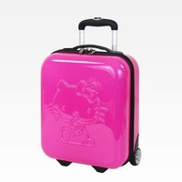 """Hello Kitty 16"""" Embossed Rolling Luggage: Rose"""