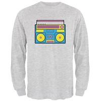Blue Retro Boombox Stereo Mens Long Sleeve T Shirt