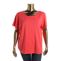 Karen Scott Womens Plus Cotton Short Sleeves T-Shirt