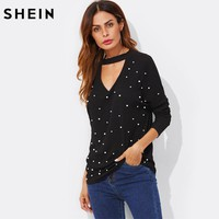 SHEIN Pearl Beading V Cut Choker Sexy Top 2017 New Fashion Autumn Womens Black V Neck Casual Long Sleeve T shirt