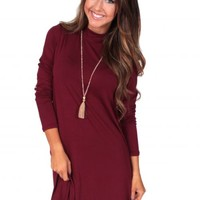 Winter Winds Burgundy Turtleneck Dress | Monday Dress Boutique