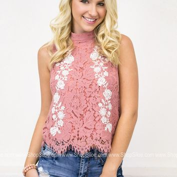 Rose Lace & Embroidery Top