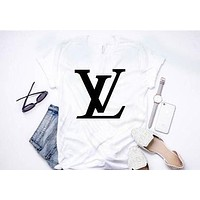 Louis Vuitton LV 2018 Latest Tide Brand Trendy Fashion Printed Letter T-Shirt Shirt Top Tee