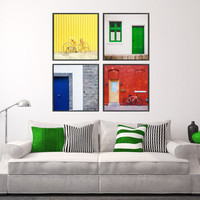 Colorful Walls & Doors Photography - Set of 4 Square Art Prints - Pop of Color Accent Wall Decor - City Urban Photo Series