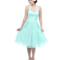 Unique Vintage Exclusive - Mint Green Tea Leaves Swing Dress