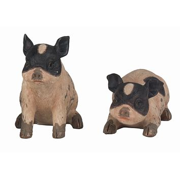 Set of 2 Brown Country Pig Figurines