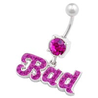 Bad Names & Words Dangle Fuchsia Crystal Belly Button Ring For Girls [Gauge: 14G - 1.6mm / Length: 10mm] 316L Surgical Steel & Crystal