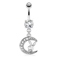 Playboy Bunny with Paved Gemmed Moon Dangle 316L Surgical Steel Navel Ring