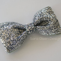 Silver Hairbow, Sparkly Bow, Glittery Tuxedo Bows, Dance Recital, 2.5 Inch, Girls Bows, Toddler Bow, Glitter Bow, Bow Tie Hairbow