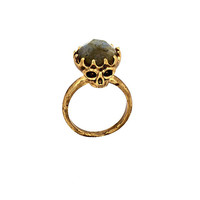 house of harlow - double sided skull ring with labradorite stone top (gold) - House of Harlow 1960 | 80's Purple