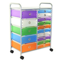 15-Drawer Colorful Rolling Makeup Craft Toy Room Storage