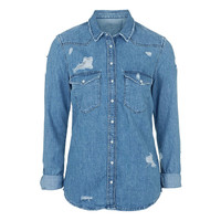 Denim Shirt Collar Long Sleeve Top