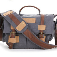 Gray Small CANVAS NIkon /Canon Camera Bag--shoulders canvas with cowhide backpack/Padded Camera Insert-One Camera 1 Lens Hand Craftedbbk-2