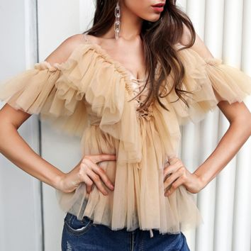 Spring and summer sexy mesh women's fashion women's small sling top short sale