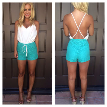 Crochet Two Tone Romper - Aqua & White