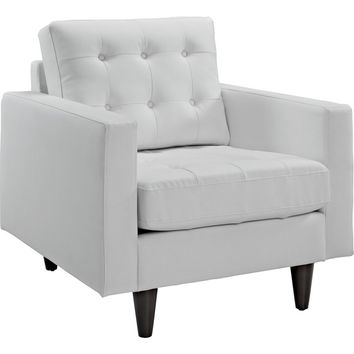 Empress Armchair White Leather