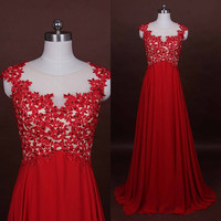 Red Lace Prom Dress,long prom dress,red prom dress,Red Long Wedding Dress Cap Sleeve Bridal Gown, see through prom dress