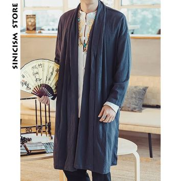 Trendy Sinicism Store Mens Long Length Windbreaker Jacket Coat Summer Thin Kimono Coat Vintage Male Jackets Clothes 2018 Plus Size AT_94_13