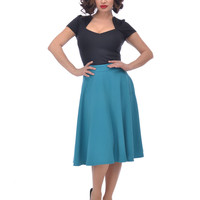 Steady Clothing High Waist Pin-up Office Lady Teal Blue Swing Circle Skirt