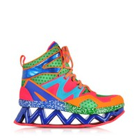 Marc by Marc Jacobs Designer Shoes Pink Multicolor Fabric Perforated and Eco-Leather Ninja Wedge Sneaker