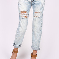 Machine Jeans Distressed Boyfriend Denim Crop Acid Wash