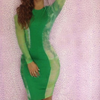 Green Long Sleeve Bodycon Dress