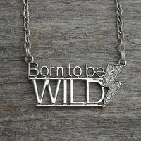 Born To Be Wild Antiqued Silver Quote Word Necklace with Jeweled Lightning Bolt, Heavy Metal Music Necklace, Song Lyric, Rock and Roll,