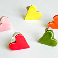 Valentine's Day Heart Ceramic Adjustable Ring Spring Colors Cocktail Ring Every Day Modern Pottery Jewelry