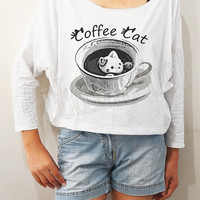 Coffee Cat Shirts Meow Shirts Funny Shirts Bat Sleeve Shirts Crop Shirts Long Sleeve Shirts Oversized Sweatshirt Women Shirts - FREE SIZE