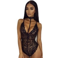 Feitong Fashion Sexy LingerieWomen Sexy Lace Sheer BodysuitBackless Body Suits For Women Swimsuit Bodysuit