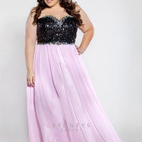Sydney's Closet 2013 Prom Dress- Baby Pink & Black Sequin Strapless Gown - Unique Vintage - Cocktail, Pinup, Holiday & Prom Dresses.