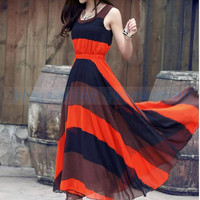 Women Celebrit Pleated Bohemian Striped Summer Long Sun Dress Free Wrapped Chest