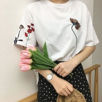 Embroidered Spring Flowers T-Shirt