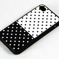 Black and white polka dot iPhone 4 iPhone 4S Case, Rubber Material Full Protection