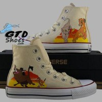 DCCKHD9 Hand Painted Converse Hi. The Lion King, Simba, Nala, Timon, Pumbaa. Handpainted shoes