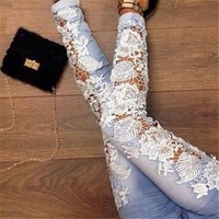 Sexy hollow out tight jeans 8301975 by Loulee's Boutique