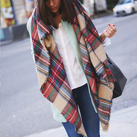 Multicolor Plaid Raw Edge Scarf