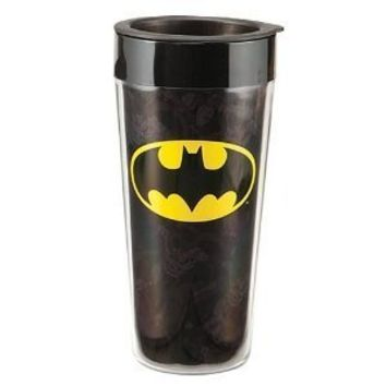 Vandor 76051 Batman Plastic Travel Mug, Black, 16-Ounce