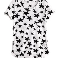 Women's Lady Fashion Shirts Slim Star Print Short Sleeve T-shirt Tops Blouse