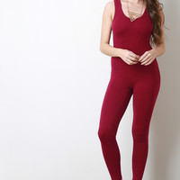 Sleeveless Jersey Knit Leotard Jumpsuit