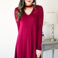 Once Upon A Choker Neck Dress - Maroon