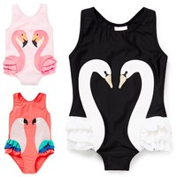 Girls Swimsuit Cartoon Kids Swimwear with Swimming Cap Parrot Swan Flamingo 2017 baby girl bathing suit One Piece swim wear