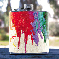 Melted Crayons Hip Flask 6oz, Melted Oil Paint Style, for Events, Anniversaries Weddings, Gifts, Birthdays, Bridesmaid, Groomsmen & more!