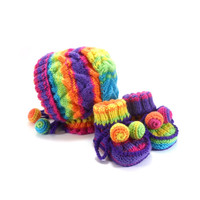 Knitted Baby Bonnet and Booties - Rainbow Colors, 3 - 9 month