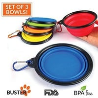 Collapsible Travel Dog Bowl * Set of 3 * by Buster Pets - Carabiners Included - Premium Pet Travel Bowl for Food & Water - Dishwasher Safe Food Grade Silicone - BPA Free 100% Money Back Guarantee