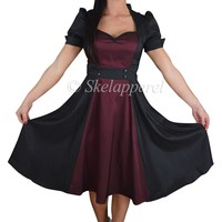 Retro Vintage 60's Queen of Hearts Black & Burgundy Two Tone Satin Dress